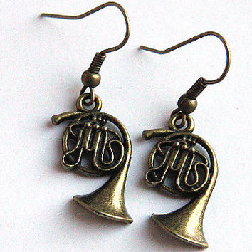 Music Earrings. Steampunk Antique Brass FRENCH HORN. Gift for Teacher Jazz Band Orchestra, geekery Earrings