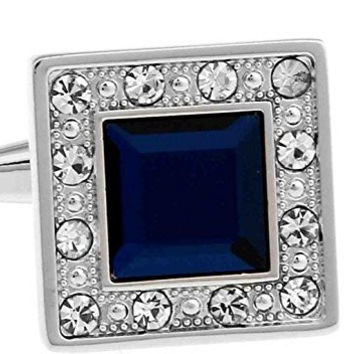Basket Hill ,Bright Blue and Clear Crystals on Silver Square Cufflinks