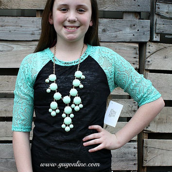 Kid's Crochet with Love Black Burnout Baseball Tee with Mint Crotchet Sleeves