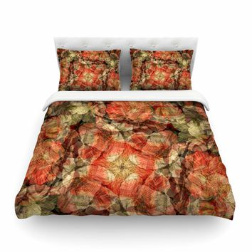 "Justyna Jaszke ""Mandala Fire Art"" Red Pastel Abstract Pattern Digital Illustration Featherweight Duvet Cover"