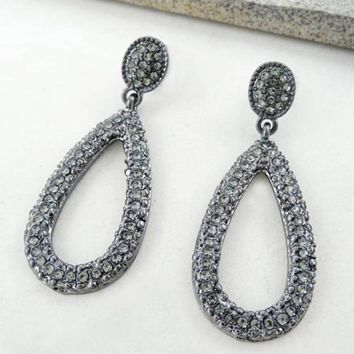 Rhinestone Tear Drop Earrings