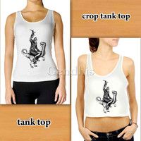 Chewbacca Riding A Velociraptor Dinosaur Custom Woman Crop Tank , Woman Tank Top , Man Tank Top