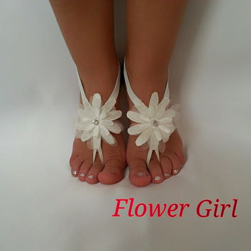 ivory Flower girl anklet  embrodeired Beach wedding barefoot  sandals bangle wedding anklet children's shoes  flower  kids  princess