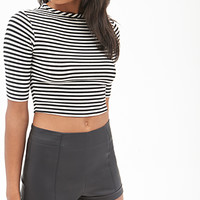 FOREVER 21 Cool Girl Coated High-Waisted Shorts Black