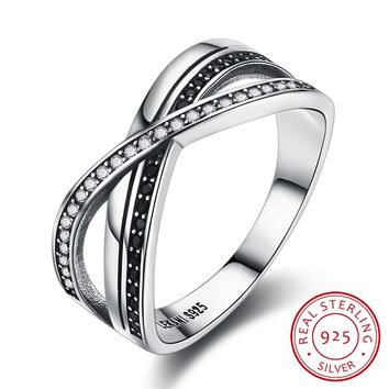 925 Sterling Silver Ring Stylish stylistic pure silver retro style interlaced diamond X-shaped ring SVR227