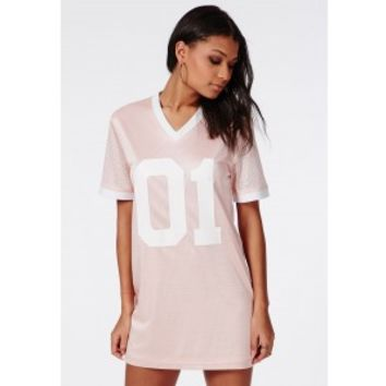 Satin Number 1 Basketball T-Shirt Dress Pink - Dresses - T-Shirt Dresses - Missguided