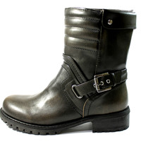 Guess Women's Netty Black/Brown Buckle Motorcycle Style Boots