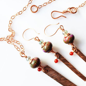 Artisan Copper Jewelry Set, Copper and Lampwork Glass Necklace Earrings, Boho Jewelry 28 inch long bars Gift for her, Mother's Day Handmade