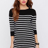 All Lined Up Black and Ivory Striped Sweater Dress