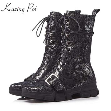 Krazing Pot sheep leather wedges med heels platform round toe riding punk lace up handsome quality fashion mid-calf boots L75
