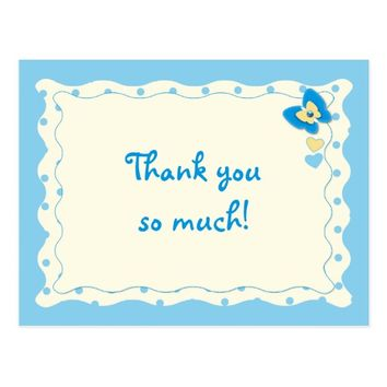 Thank you Baby Boy butterfly Postcard