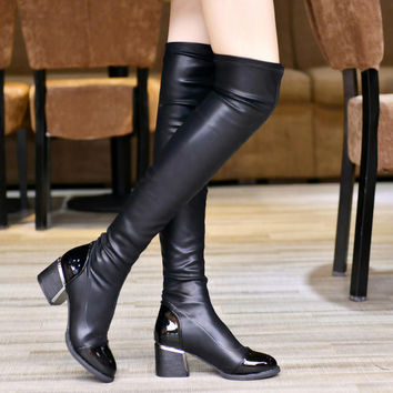 On Sale Hot Deal Pointed Toe Skinny Stretch Boots [7993616065]