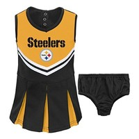 NFL Pittsburgh Steelers Girl's Newborn Infant Two Piece Cheerleader Outfit, 12, Black