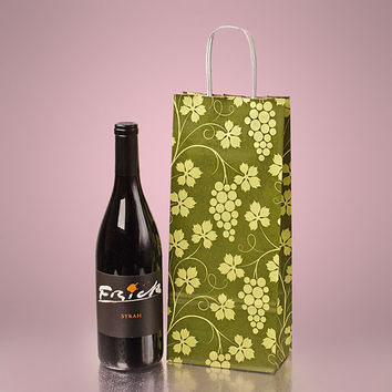Grape Printed Natural Twisted Handle Wine Liquor Bottle Gift Favor Bags, 5.5 x 3 x 12.5 inches, 25 pack