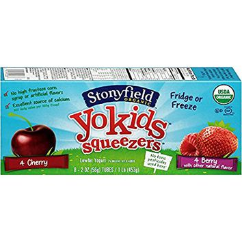 Stonyfield Organic, YoKids Strawberry Low Fat Yogurt Squeezers, 2 oz, 8 Count
