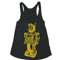 Womens ROBOT Sci Fi Tri-Blend Racerback Tank Top - american apparel - XS, S, M, and L (9 Color Options)