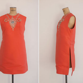 1960s Tunic - Vintage 60s Orange Embellished Tunic Top - Shanivar Tunic Top