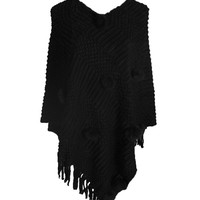 Pullover Knit Poncho With Fringe Trim