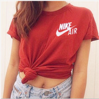 Women Men NIKE Leisure sports short-sleeved cotton T-shirt Red