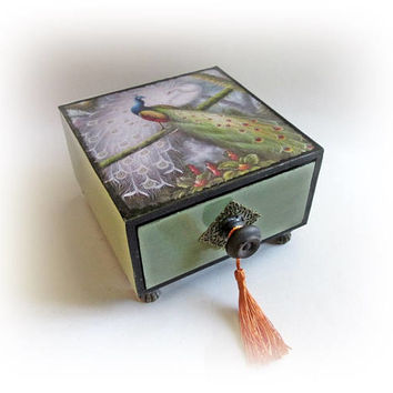 Peacocks Couple Box Drawer Wooden Box Drawer Peacock Drawer Retro Jewelry Box Decoupage Box Peacock Decor Gift for Girl Mother's Day Gift