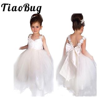 TiaoBug Girls White Backless Flower Girl Dresses Kids Evening Ball Gowns Communion DressFloral Straps Tulle Pageant Dress 4-14Y
