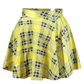 Yellow Plaid Print Mini Skater Skirt