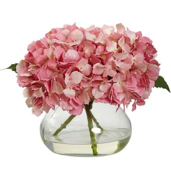 Silk Flowers -Blooming Pink Hydrangea With Vase Artificial Plant