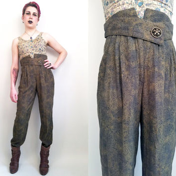 90s Clothing Rayon Pants Vintage 90s Pants Vintage Pants High Waisted Pants Vintage Dress Pants Vintage Green Pants Womens Size 4 Made in US
