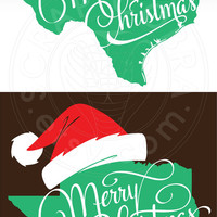 Christmas Texas Map Typography Clipart - SVG, eps, dxf, PNG Digital Download - Cut Files for Silhouette, Cricuit die cutting SV-590