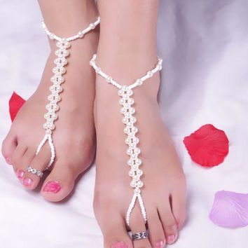 ONETOW Fashion Beach Pearl Handmade Bead Elasticity with anklet