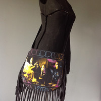 COLDPLAY - Upcycled Rock T-Shirt Fringe Purse - ooak
