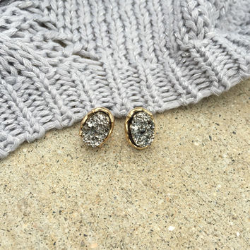 Oval Silver Druzy Stud Earrings