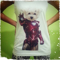 Iron Dog - Iron Man Funny Pet Puppy Mavel Comic Cartoon  Woman Tank Top Crop Vest Tshirt T Shirt Tees S, M, L