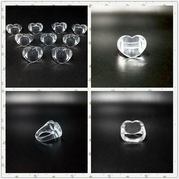 10pcs Clear/Transparent Lucite Resin Acrylic Children Kids Girl Heart-shaped Love Rings