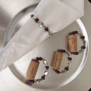 Wine cork napkin holder in silver beads and faux pearls, kitchen and dining room decor, choose your color pearls, great gift basket idea