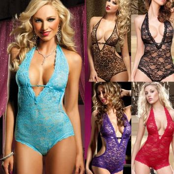 Sexy-Women's Lace Lingerie Nightwear Underwear G-string Babydoll Sleepwear Dress Women Nightgowns