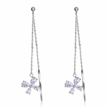 INALIS Four leaf  Clover Long Earrings with Flower 5.0ct AAA Cubic Zirconia Genuine 925 Sterling Silver Women Earring Brincos