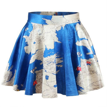 Women Girls Digital Print Game of Thrones WESTEROS Stretchy Flared Pleated Casual Mini Skirt (Size: M, Color: Multicolor) = 1946210116