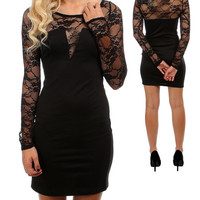 Black Flower Lace Sleeve With Spandex Tight Body Dress