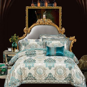 European Style Embroidered Home Textile Jacquard Bedding set Silk/Cotton Bed set Satin Duvet Cover Bedsheet Queen King Size 4PCS