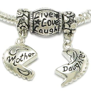 Silver Plated Mother Daughter Charm + Live, Love, Laugh Bead Charm & Silver Gilt Bracelet