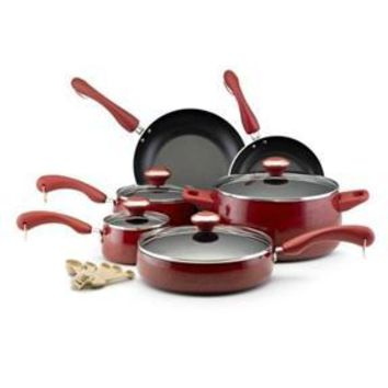 15-Piece Nonstick Porcelain Cookware Set in Red