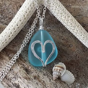 Handmade in Hawaii,  wire wrapped heart blue sea glass beach necklace, Sterling silver chain, gift box, Sea glass jewelry gift.