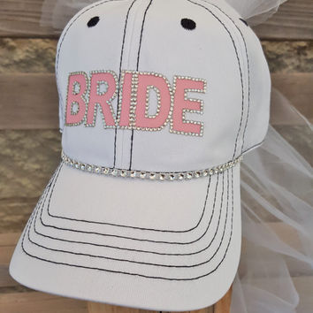 Bride trucker Hat with Veil for Bachelorette party Pretty in Pink Bride with rhinestone flower and veil for bridal shower