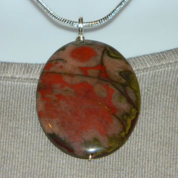 70ct. Mixed Brown and Red Stone, Semi Precious, Agate, Pendant, Necklace, Oval, Natural Stone, 103-15
