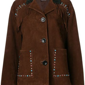 Miu Miu Fringed Embellished Jacket - Farfetch