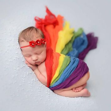 Baby newborn photography props Rainbow Striped Wraps Newborn Photo Props Costume Blanket Lace Scarf Baby Photo Props Accessories