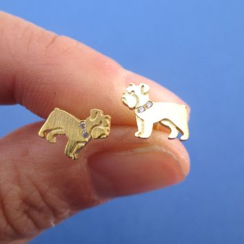 English Bulldog Puppies Shaped Stud Earrings with Rhinestones in Gold