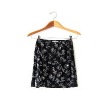 20% OFF SALE Vintage Express Floral Mini Skirt. Black Revival Skirt. High Waist Skirt