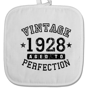 90th Birthday Vintage Birth Year 1928 White Fabric Pot Holder Hot Pad by TooLoud